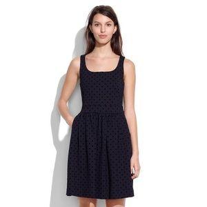 Madewell Velvetdot Sleeveless Black Mini Dress
